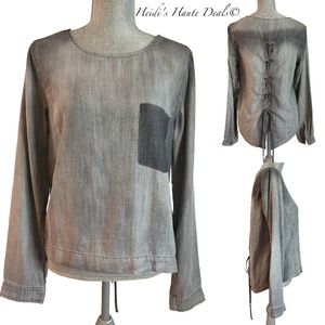 Cloth Stone Gray Tencel Lace Up Back Tunic Top S
